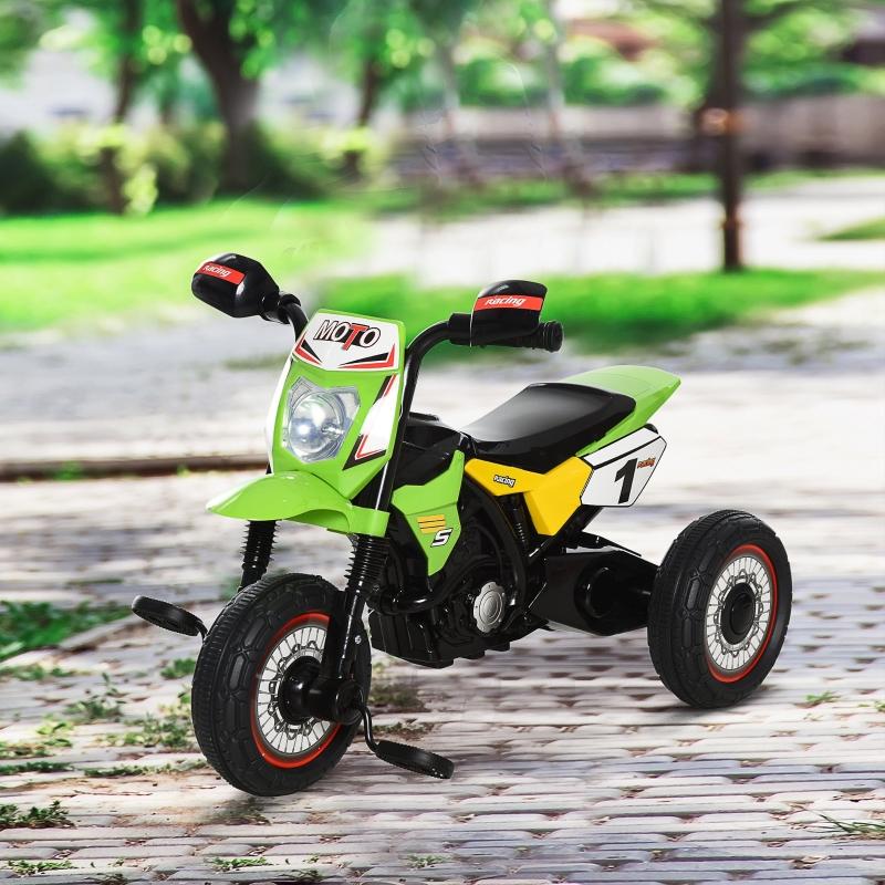 HOMCOM Moto Correpasillos Infantil para Niños de +18 Meses con Apariencia de Moto de Montaña con 3 Ruedas con Luces y Sonido Pedales Diseño Único 71x40x51 cm Verde