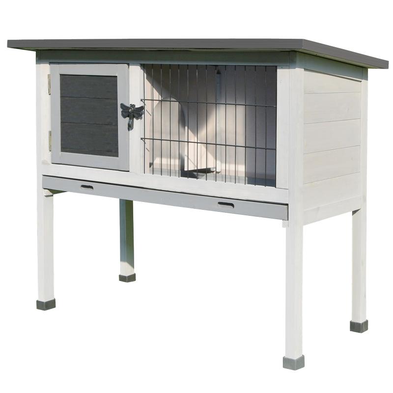 PawHut Conejera de Madera Caseta Exterior Refugio para Mascotas Pequeñas Conejos Cobayas con Bandeja Extraíble y Techo Asfáltico 86x45x70 cm Gris y Negro