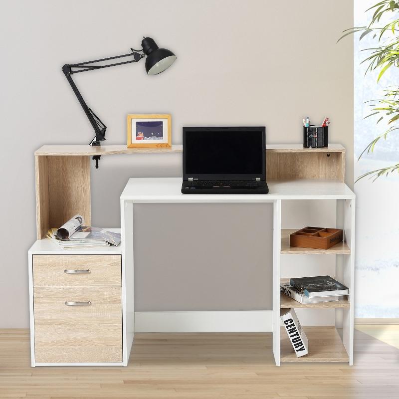 HOMCOM Mesa de Ordenador PC 137x55x92cm Despacho Escritorio Oficina Escuela Estanteria Madera 2 Colores (Roble+Blanco)