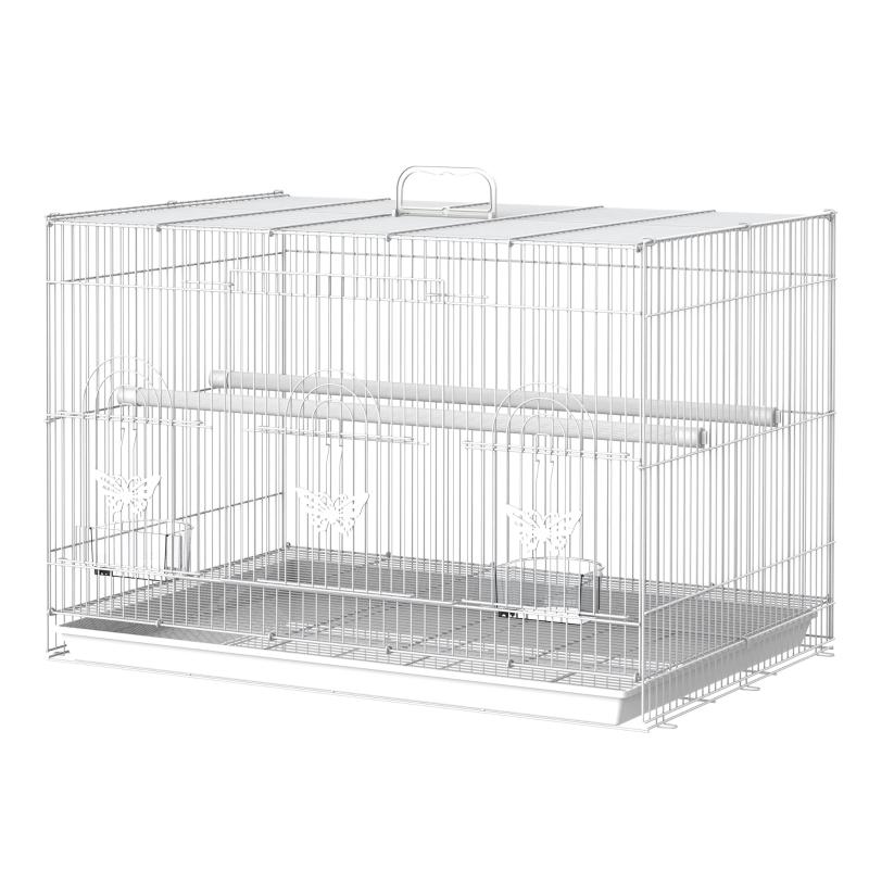 PawHut Jaula para Pájaros 60x41x41cm Pajarera con 2 Perchas y 3 Puertas para Pájaros pequeños Canarios Cotorras de Metal Blanco