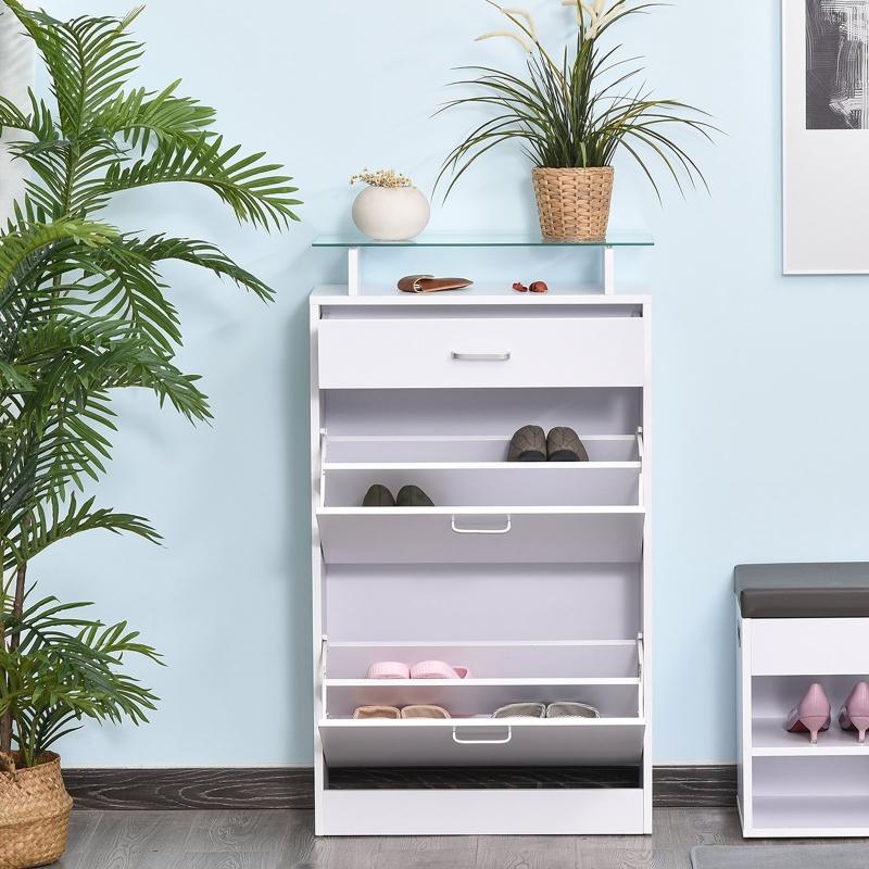 HOMCOM Mueble para Zapatos Multifuncional Zapatero con 3 Cajones Estante de Vidrio Asa de Aluminio Carga 50 kg 60x24x105,5 cm Blanco