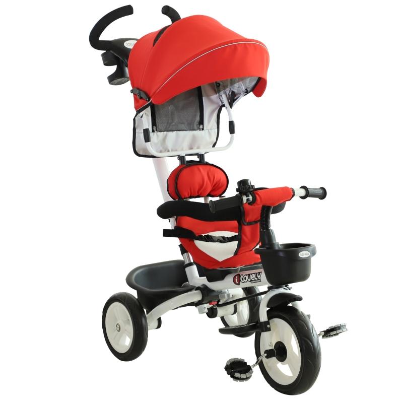 HOMCOM Triciclo Bebé 4 en 1 Trolley Trike Bicicletas para Niños +18 Mes Evolutivo Asiento Giratorio Capota Barra Desmontable Control Parental Juguete Aprendizaje