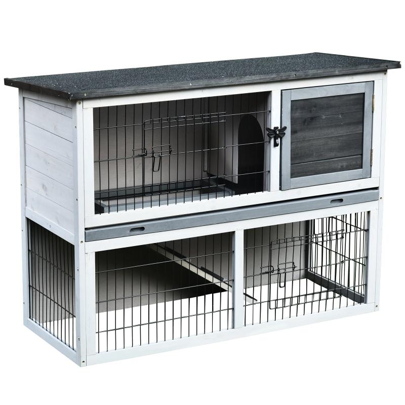 PawHut Conejera de Madera jaula conejo exterior de 2 Pisos Rampa Bandeja Extraíble y 2 Puertas 108x45x78 cm Gris