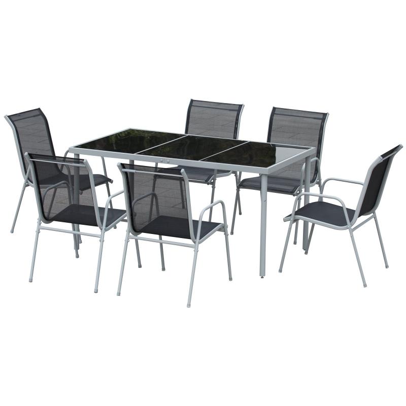 Outsunny Conjunto de Muebles Exterior para Jardín de 7 Piezas Incluye 1 Mesa y 6 Sillas con Resposabrazos Fabricado a Acero 150x90x72cm Negro
