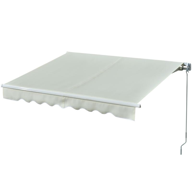 Outsunny Toldo Manual Retráctil con Manivela 250x200 cm de Aluminio Ángulo Ajustable Protección Solar para Ventanas Puertas Balcón Exterior Crema