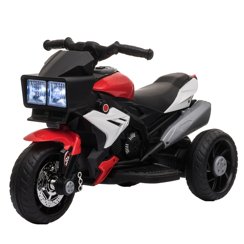 HOMCOM Moto Eléctrica Infantil con 3 Ruedas para +3 Años Triciclo con Pedal para Niños Batería 6V con Luces Música Neumáticos Anchos 86x42x52 cm Rojo