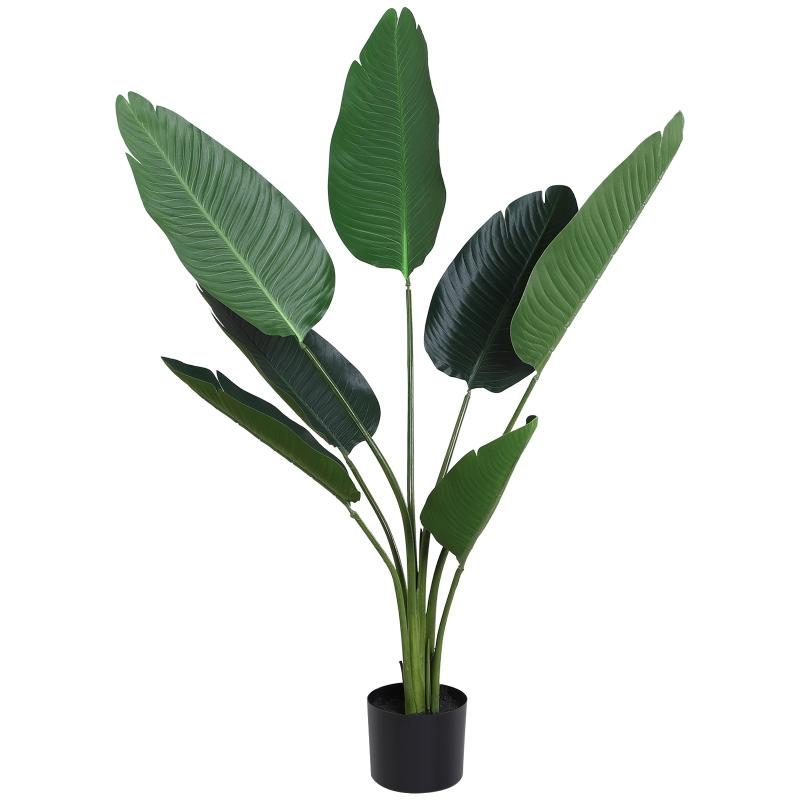 Planta de Decoración Artificial de Palma Árbol Realista con Maceta 7 Hojas 15x120cm(DxAl) para Exterior e Interior No Requiere Instalación