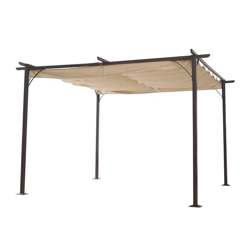 Outsunny® Pérgola de Metal 3.5x3.5m Gazebo Cenador para Jardín Patio o Terraza con Techo Retráctil Tela Poliéster Resistente al Agua y UV