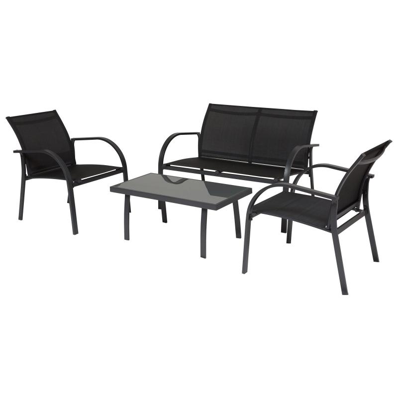 Outsunny Conjunto Set Muebles de Jardín para Interiores y Exteriores 4 Piezas Incluye Una Mesa 84x44x36cm Dos Sillones 67x60x76 cm y Una Sofá 67x110x76 cm Estilo Elegante Negro