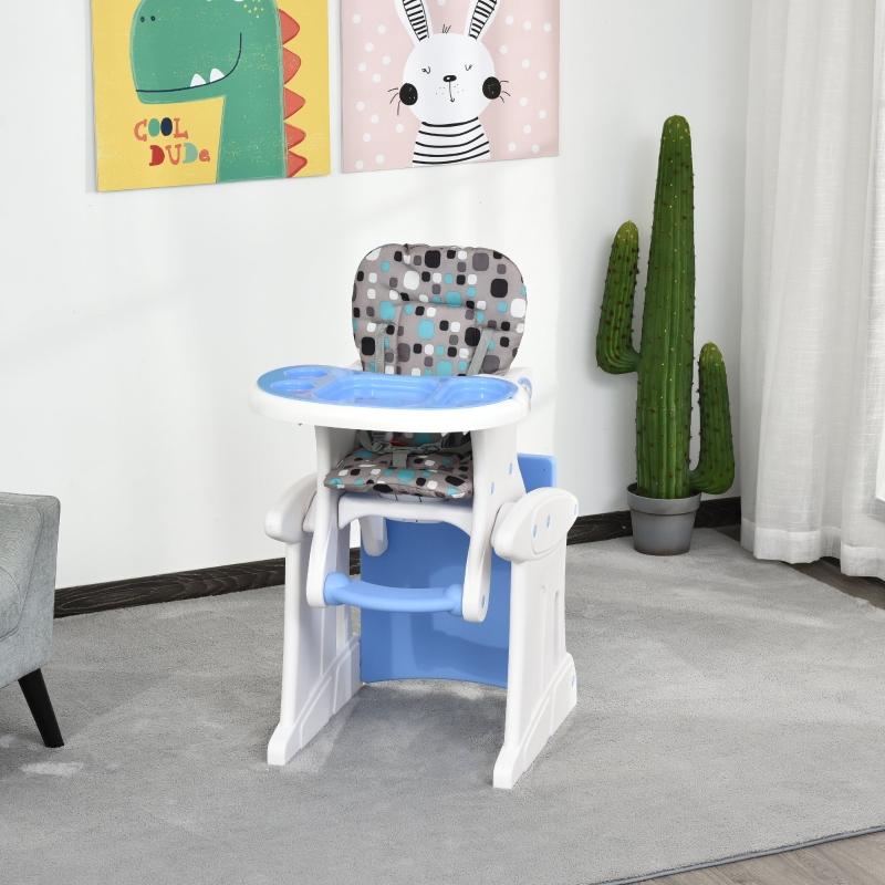 HOMCOM Trona para Bebés 3 en 1 para +6 Meses Multifuncional Ajustable en 3 Posiciones Respaldo Alto Acolchado con 2 Bandejas 57x59x105cm Azul
