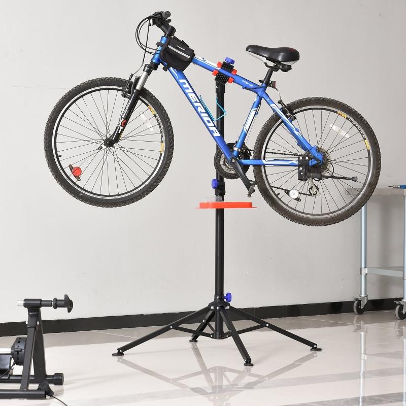 HOMCOM Soporte de reparación Portátil Caballete de Bicicleta para Hogar Altura Ajustable 110-180 cm con 4 Patas Hasta 25 kg 84x84x180 Negro