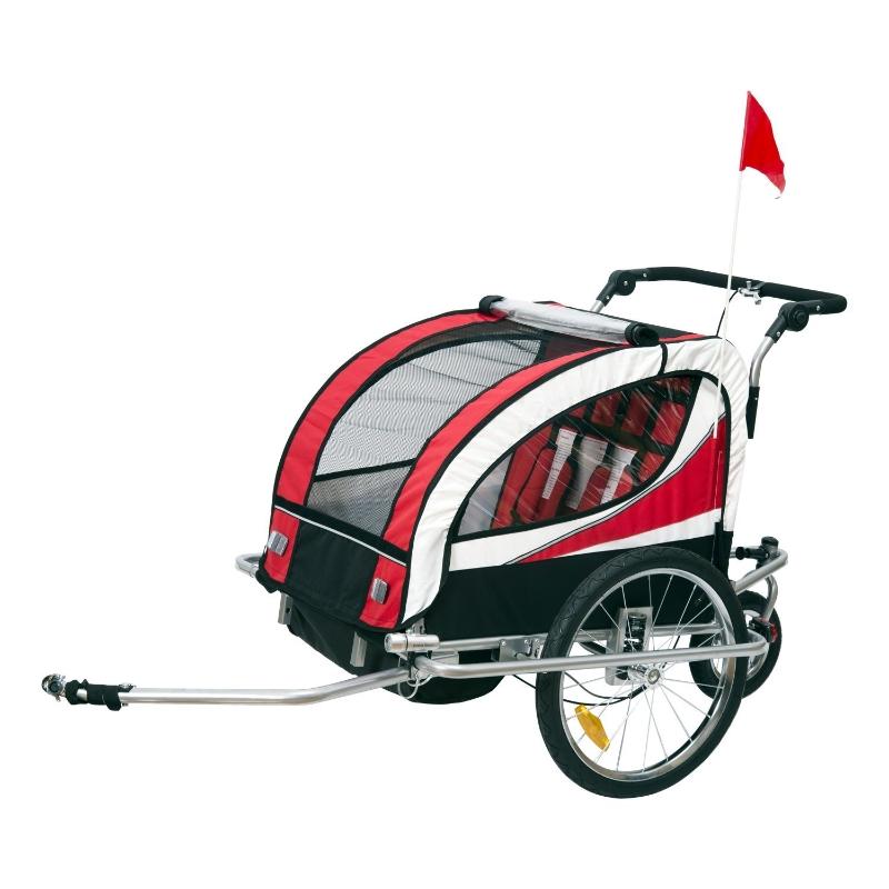 HOMCOM 2 en 1 Remolque Infantil para Bicicleta de 2 Plazas Convertible en Carro de Paseo con Rueda Delantera Giratoria 360° Color Rojo