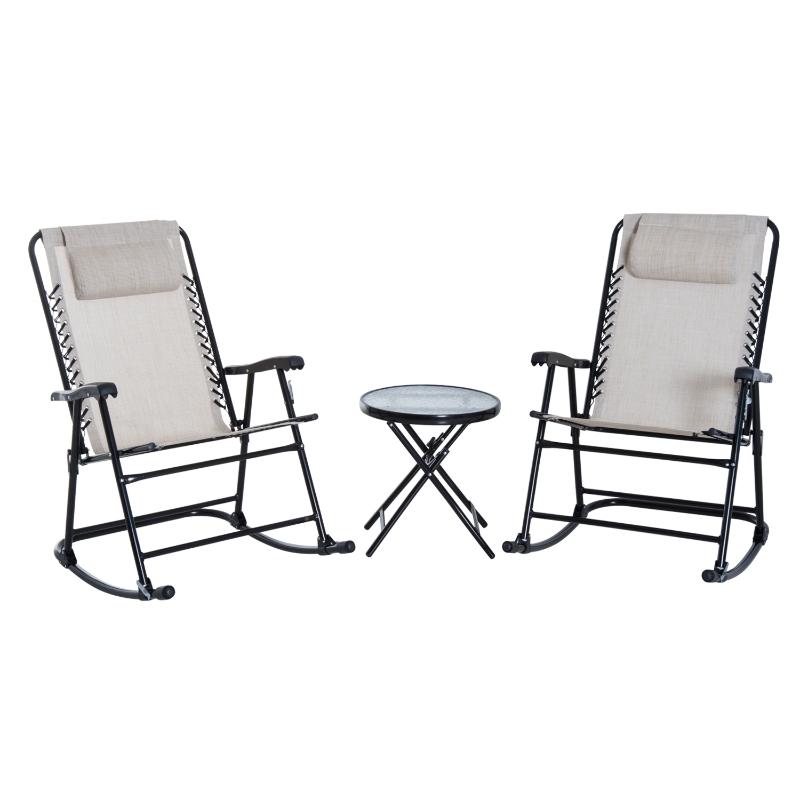 Outsunny Set de Muebles de Jardín Mesa Redonda Ø46x49 cm y 2 Sillas Mecedoras 68x90x106 cm Plegables con Bloqueo para Exterior Patio Beige