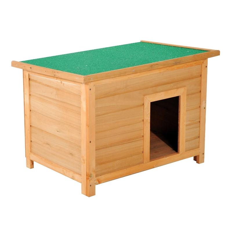 PawHut Caseta para Perro 85x58x58 cm Madera Impermeable con Tejado Verde Abatible y 4 Pies Antideslizantes