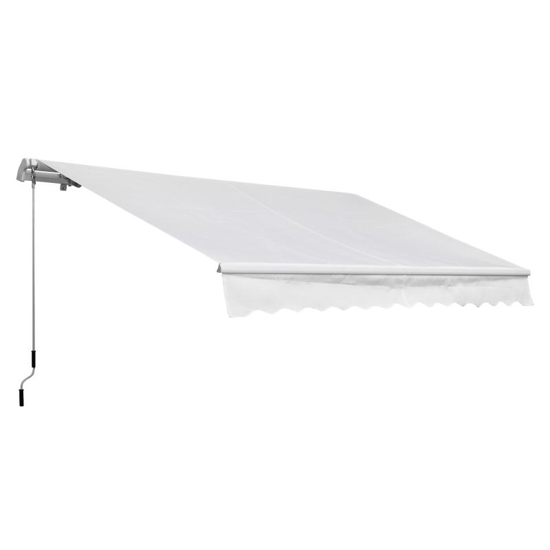 Outsunny Toldo Manual Plegable de Aluminio 3,5x2,5m  Toldo Balcón Patio Terraza con Manivela Impermeable Protección Solar UV Color Blanco