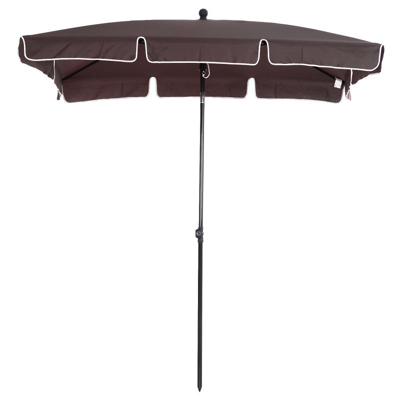 Outsunny Sombrilla Rectangular Grande Parasol con Ángulo Ajustable para Patio Terraza o Jardín 198x130x240cm En Color Marrón