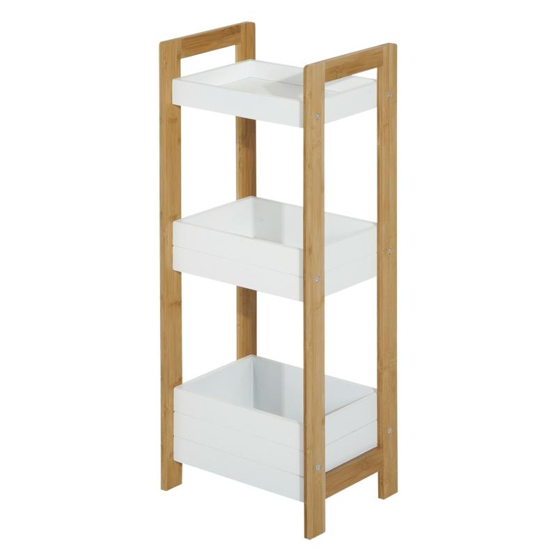 HOMCOM Estantería de Baño con 3 Estantes Organizador de Almacenaje Bambú para Cocina Sala de Estar Lavadero 27,5x20,8x74 cm Color Blanco y Natural