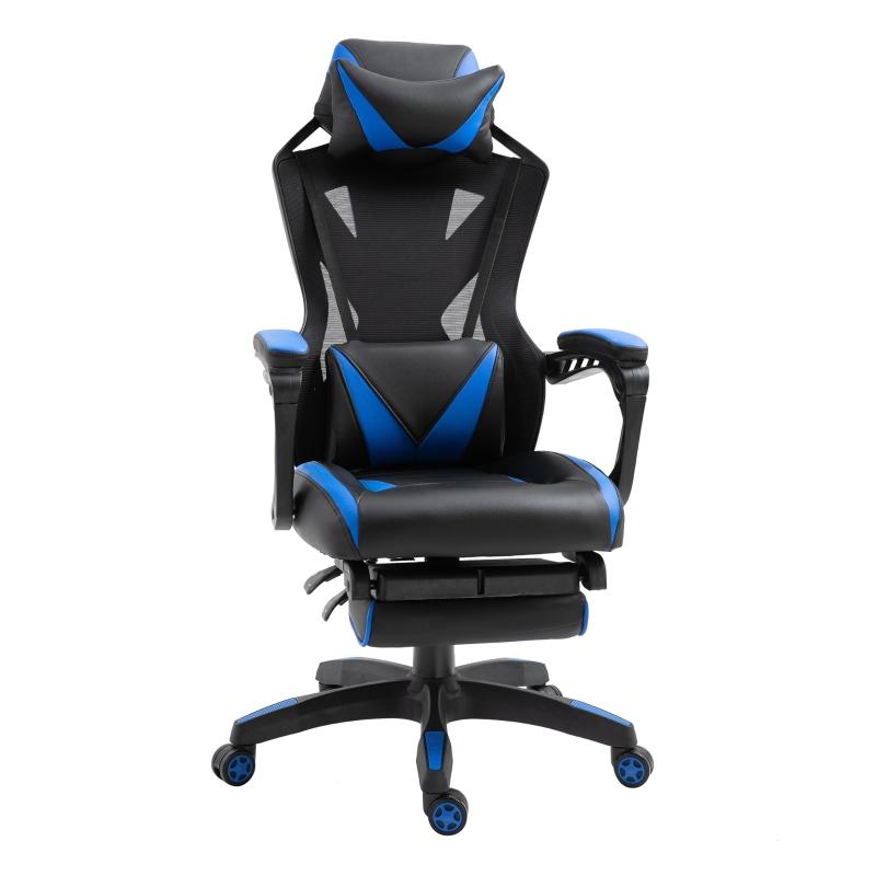 Vinsetto Silla Racing Gaming Ergonómica Silla de Escritorio para Oficina Ajustable Altura con Respaldo Regulable Almohada Lumbar Reposapiés Retráctil 65x70x117-125 cm Azul