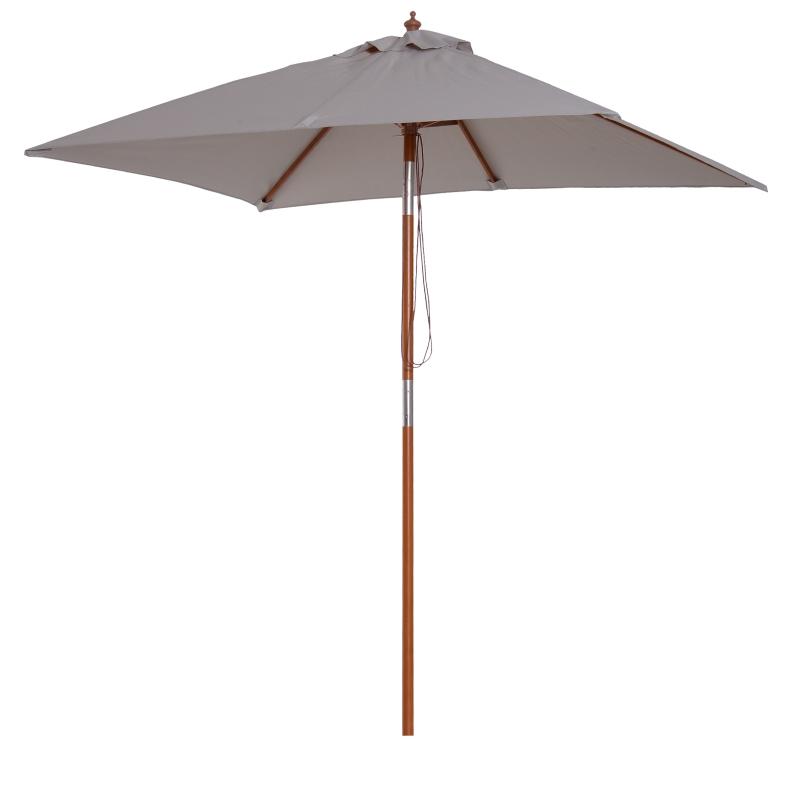 Outsunny Sombrilla Parasol 200x150cm de Bambú Madera para Jardín Terraza Patio Playa Doble Techo Ángulo Inclinable Rectángulo Mástil de 38mm