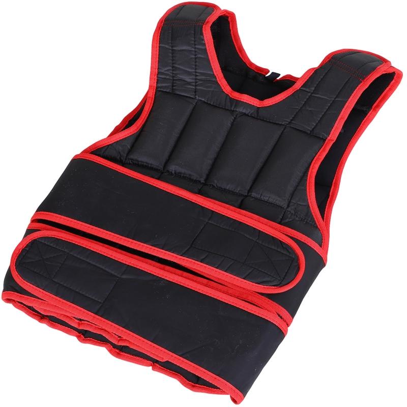HOMCOM Chaleco Ajustable para Entrenamiento Pesos Individuales hasta 20 kg Cierres de Velcro Doble Cinturón 40x59 cm Negro y Rojo