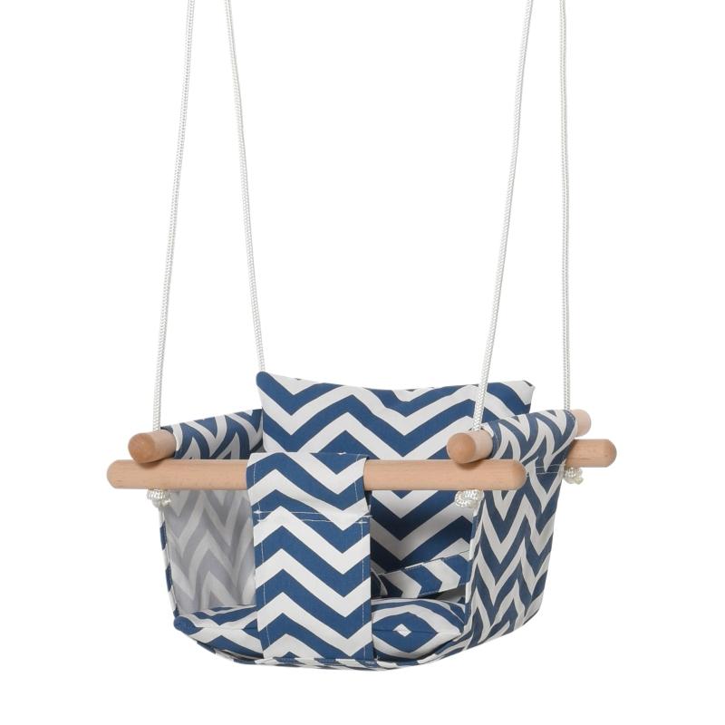 Outsunny Columpio para Bebé Altura Ajustable con Cinturón de Seguridad Interior y Exterior Carga Máx. 80 kg Madera 40x40x180 cm Azul y Blanco