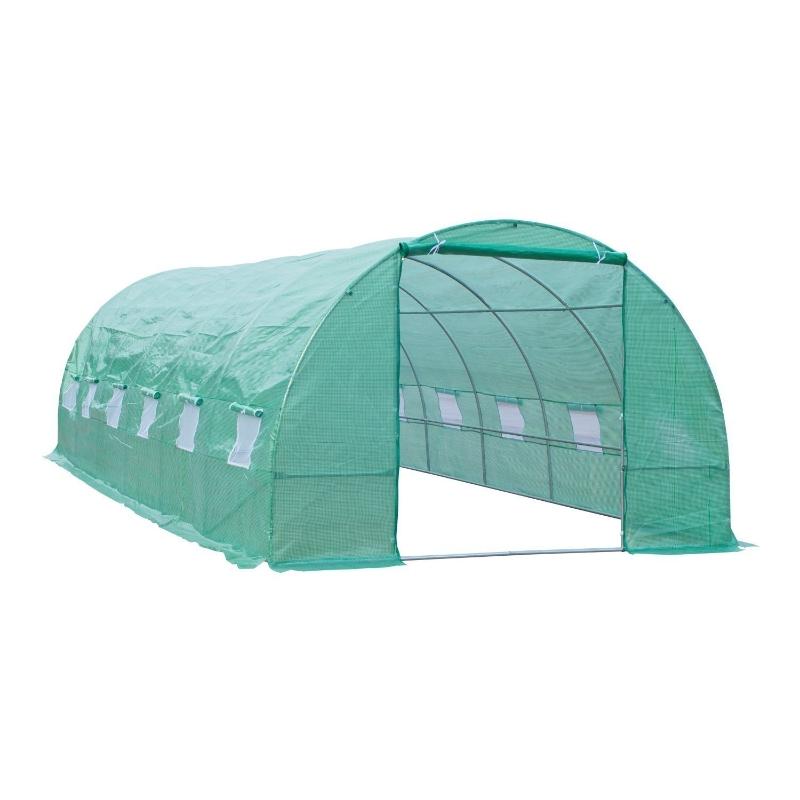 Outsunny Invernadero Túnel 8x3x2 m Acero y PE 140g/m² Cultivo Plantas Tomates Verduras con 12 Ventanas y Puerta Enrollable Verde