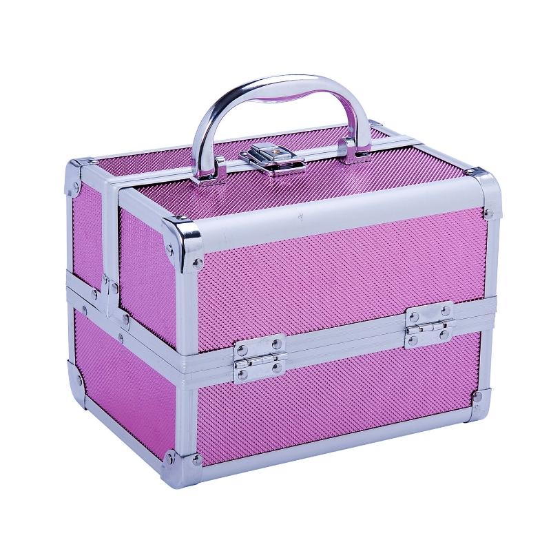 HOMCOM Maletín Maquillaje Profesional Estuche de Cosmético Portátil con Bandejas de 3 Niveles y Espejo 2 Llaves para Joyero Manicura Viaje 15x15x20 cm Rosa