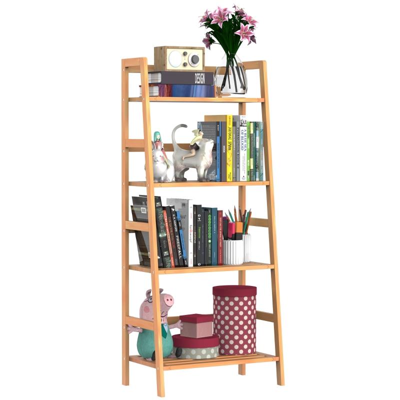 HomCom® Estantería de Bambú 4 Niveles Estantería Escalera de Baño Librería Organizador Zapatero
