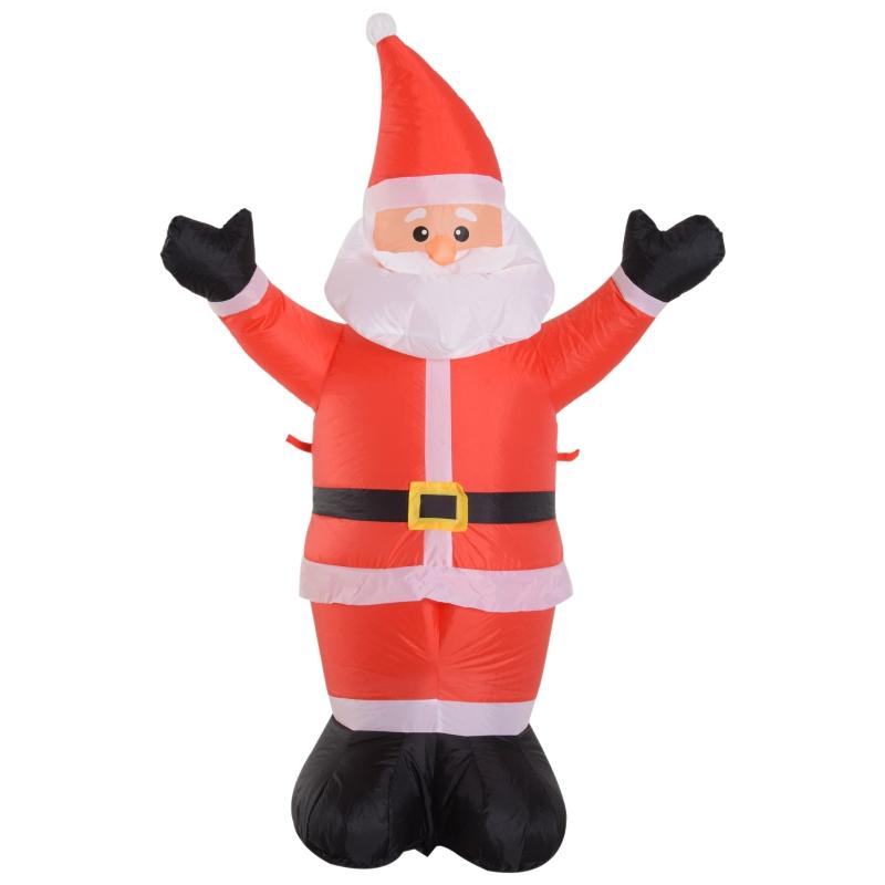 HOMCOM Santa Claus Inflable 1.2m Papá Noel Hinchable Decoración Navidad Iluminación LED con inflador para Interior Exterior 80x40x120cm