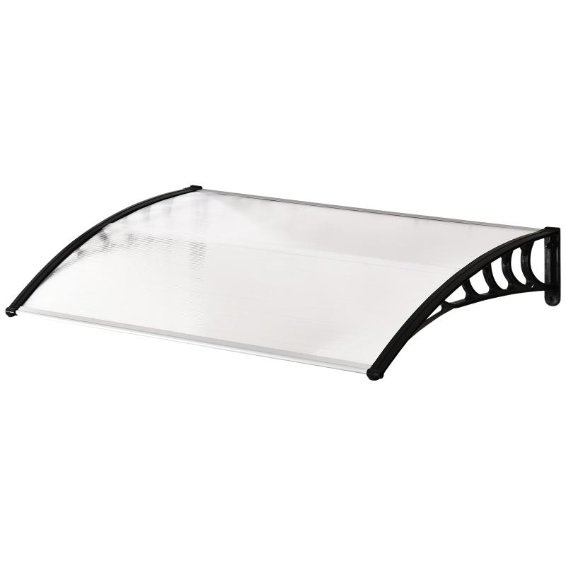 Outsunny Tejadillo de Protección 120x90x25 cm para Puertas Ventanas contra Sol y Lluvia Marquesina de Techo Aleación de Aluminio Duradero y Policarbonato Transparente