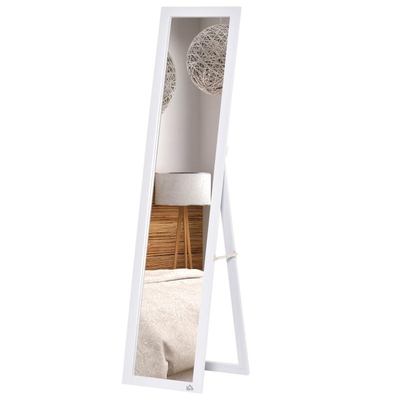 HOMCOM Espejo de Pie Cuerpo Entero Espejo de Pared Rectangular con 2 Formas de Uso Moderno para Pasillo Dormitorio Sala de Estar 37x48x152 cm Blanco