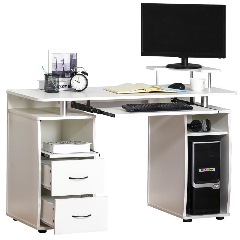 HOMCOM Mesa de Ordenador PC Mesa Escritorio con Múltiples Estantes Bandeja de Teclado Soporte CPU y 2 Cajones para Oficina 120x55x85 cm Blanco