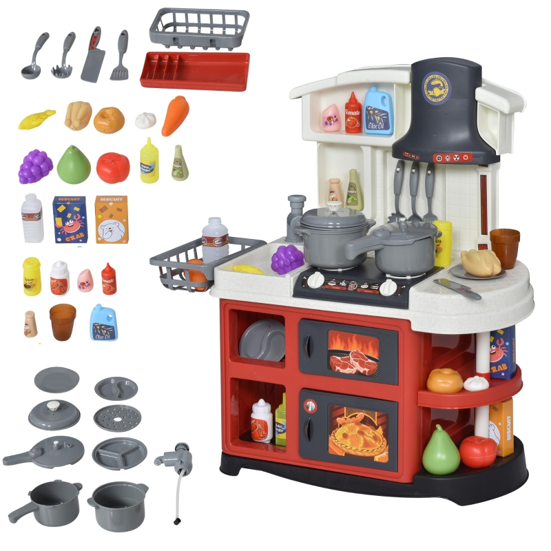 HOMCOM Kids Kitchen Playset with Lights Sounds Spray Sink Running Water for Toddlers