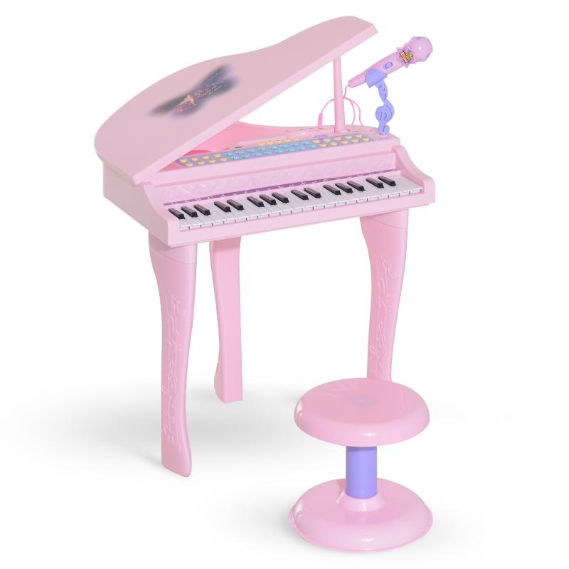 HOMCOM Piano Infantil 37 Teclas Teclado Electrónico Juego de Piano con Micrófono Taburete Luces y 22 Canciones USB/MP3 Karaoke Modo de Enseñanza Rosa
