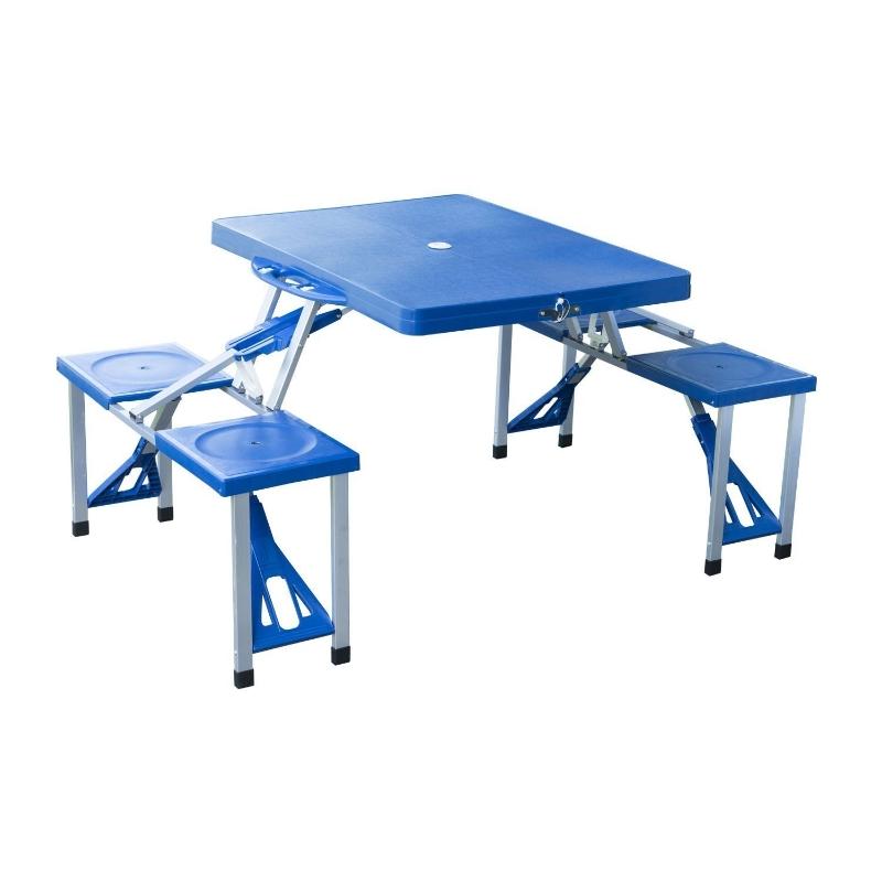 Outsunny Mesa Plegable para Camping con 4 asientos Y Orificio Sombrilla Estructura Aluminio Playa Picnic 84,5x64,5x66cm  Azul