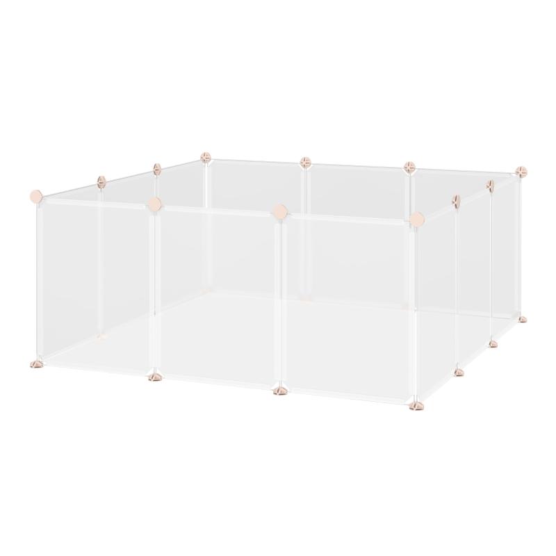PawHut Valla para Animales Pequeños Jaula Modular de Metal con 12 Paneles 24 Conectores para Conejos Cobayas y Cachorros 105x105x45 cm Blanco