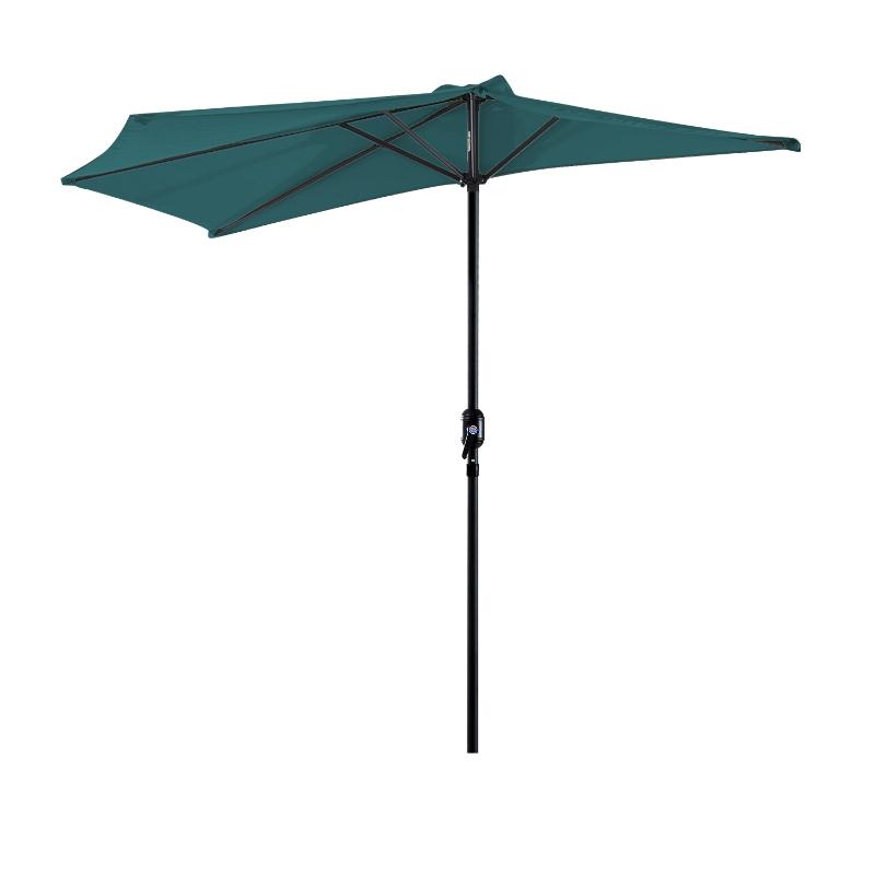 Outsunny Sombrilla 269x138x236 cm Parasol de Jardín con Manivela y Forma Semicircular para Exterior Terraza Patio Piscina Verde