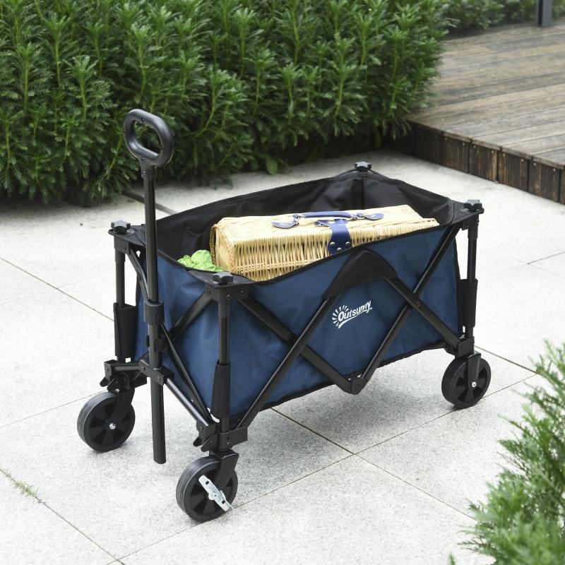 Outsunny Carro Plegable Carretilla de Transporte con Mango Ajustable Rueda Universal Freno Marco Acero Carga 60 kg 84x40x79,5 cm