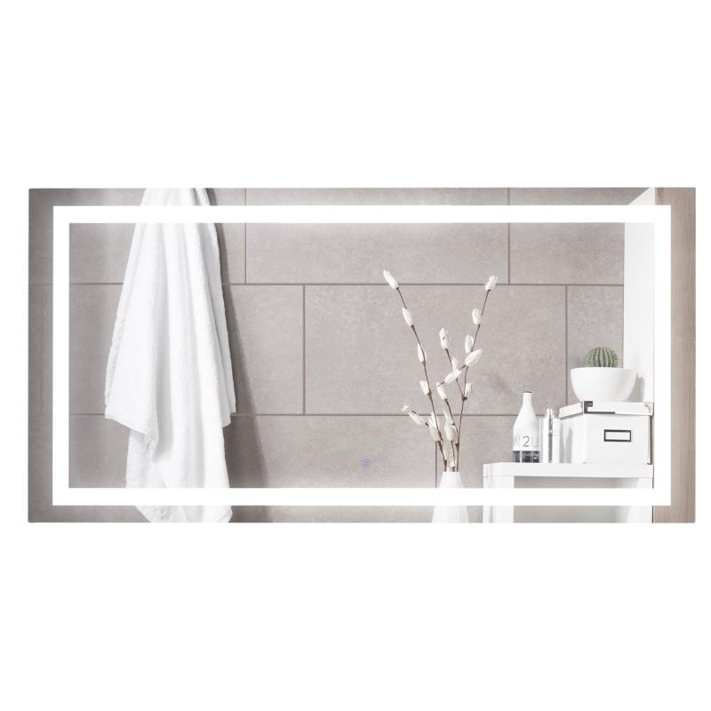 kleankin Espejo de Baño con Luz LED 120x60 cm Espejo de Pared con Interruptor Táctil y Antivaho Suspensión Vertical u Horizontal Aluminio Plata