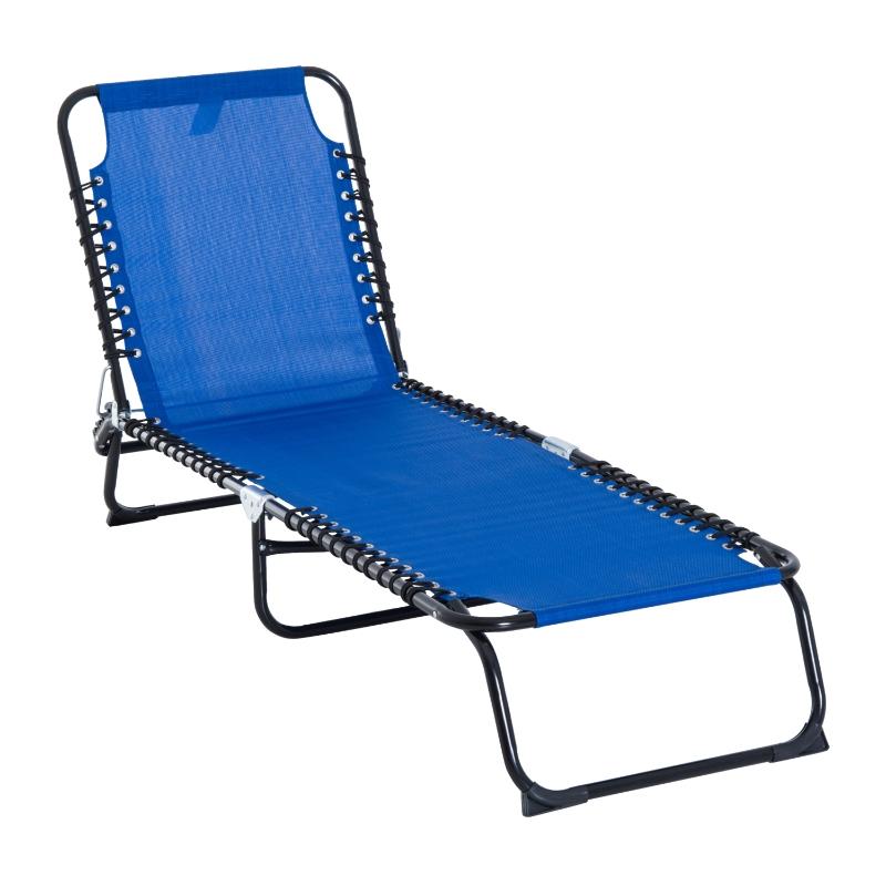 Outsunny Tumbona Plegable y Ajustable de 3 Posiciones Silla Reclinable de Jardín con Sistema de Cordones para Exterior Marco Acero 197x58x76 cm Azul Oscuro