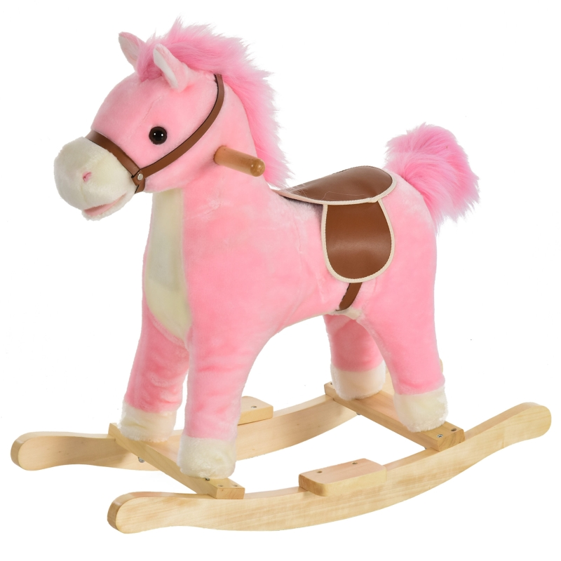 HOMCOM Kids Ride On Plush Rocking Horse w/ Sound Pink
