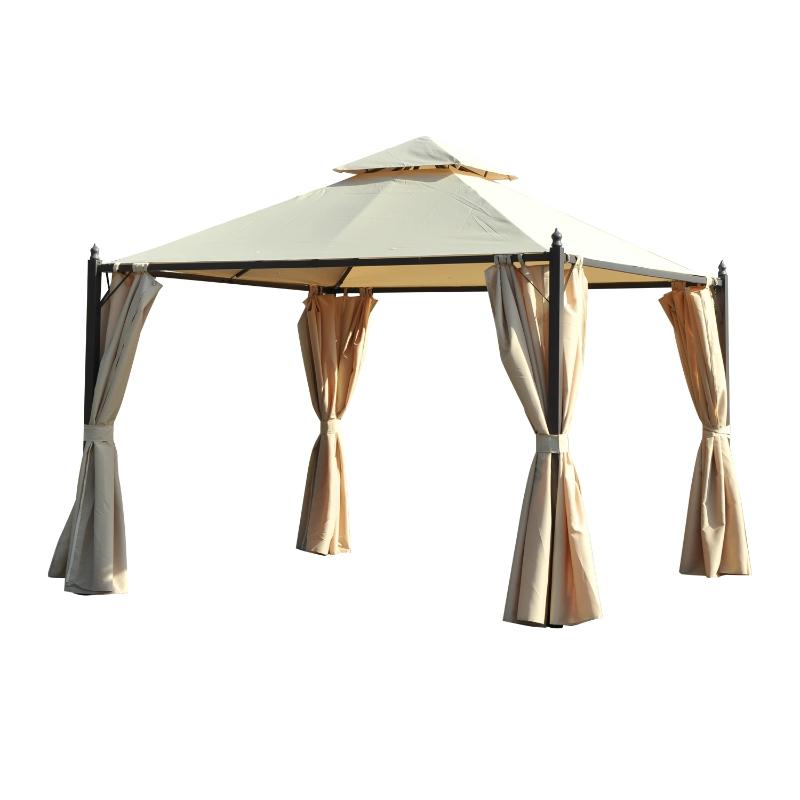 Outsunny Cenador de Jardín 3x3m Gazebo con Doble Techo 4 Cortinas Laterales Mejor Ventilación Exterior Espacioso para Fiesta Eventos Barbacoa Beige