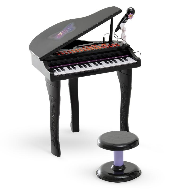 HOMCOM Piano de Juguete Electrónico Teclado con 37 Tecla Niño Instrumento de Educación Musical Negro