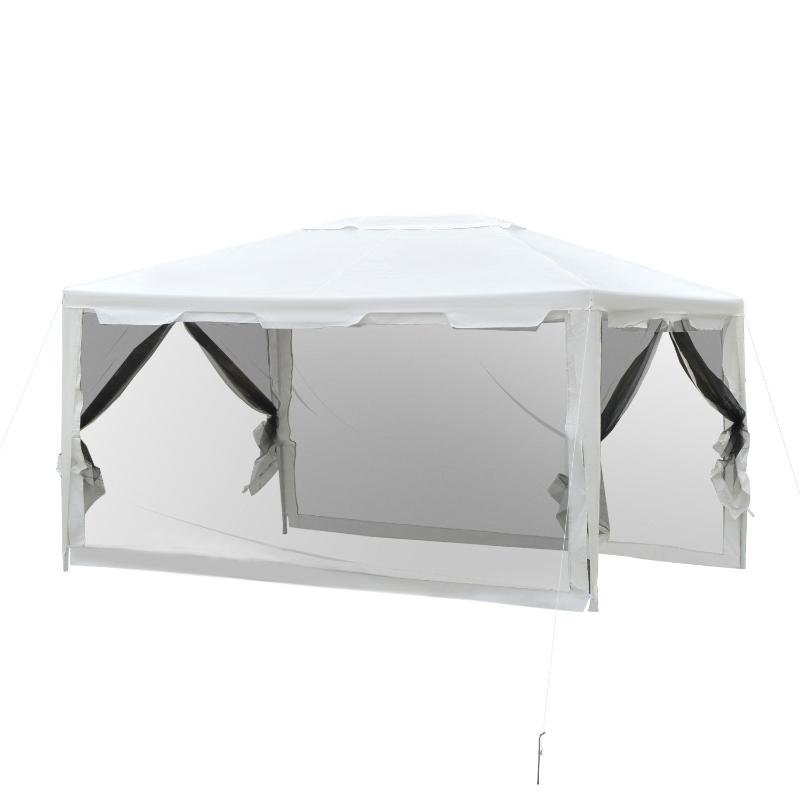 Outsunny Carpa 4x3 m Cenador de Jardín con Mosquiteras Laterales Doble Techo y Puertas con Cremallera para Exterior Blanco y Negro