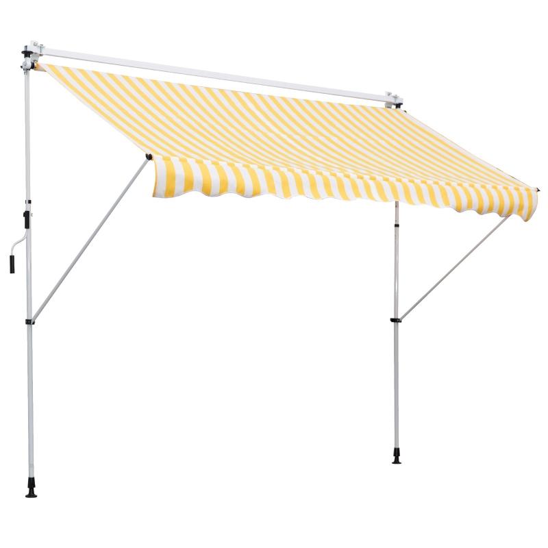 Outsunny Toldo Portátil Balcón Patio de 3x1.5m Toldo Manual Plegable de Aluminio Altura Ajustable con Manivela para Jardín Terraza Exterior Color Amarillo y Blanco