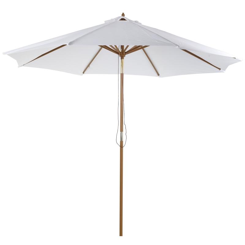 Outsunny Sombrilla Parasol de Madera diametros300x250cm para Exterior Jardín Terraza Patio Cafetería Altura Ajustable en 3 Niveles Marfil