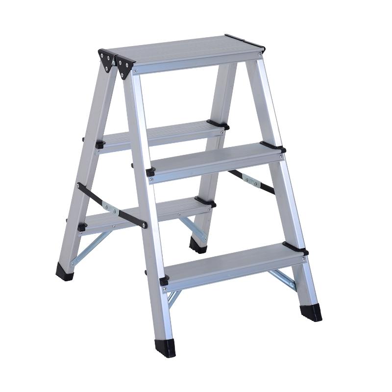 HomCom® Escalera de Tijera Aluminio Plegable Escalera Doméstica de Mano Ambos Lados 3 Peldaños