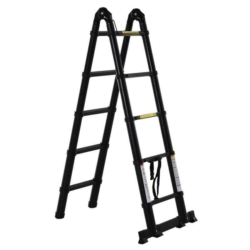 DURHAND Escalera Telescópica Plagable Multifuncional Estable Marco en A Portátil de 10 Pasos 3 Formas Soporta 150 kg Aluminio 320x67x7 cm Negro