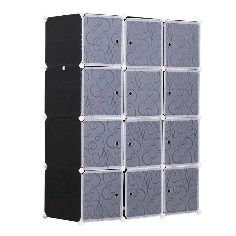 HomCom® Armario Modular Plástico Estantería 12 Cubos con Puertas para Almacenamiento de Ropa 111x47x145cm