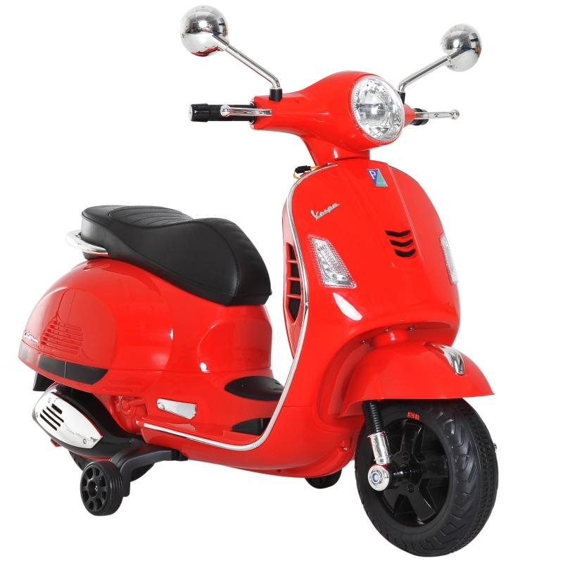 HOMCOM 6V Kids Ride On Licensed Vespa Motorcycle Boys Girls MP3 Music LED Lights Red